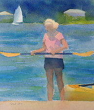 Adjusting Her Paddle by Suzanne Siegel (Watercolor Painting)