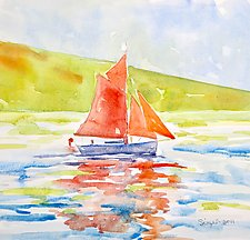 Red Sails by Suzanne Siegel (Watercolor Painting)