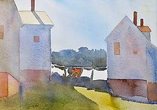 Clothesline and Barns by Suzanne Siegel (Watercolor Painting)