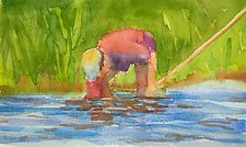 Man Clamming by Suzanne Siegel (Watercolor Painting)