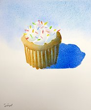 Cupcake with Sprinkles by Suzanne Siegel (Watercolor Painting)