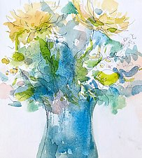 Bouquet, Blue and Yellow by Suzanne Siegel (Watercolor Painting)