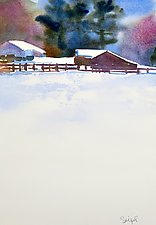 Snow Field by Suzanne Siegel (Watercolor Painting)