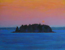 Moon Over Island III by Suzanne Siegel (Pastel Painting)