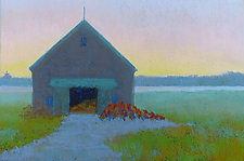 Barn with Buoys by Suzanne Siegel (Pastel Painting)