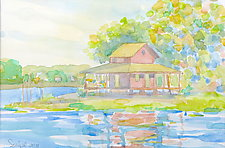 Grass Island in Summer by Suzanne Siegel (Watercolor Painting)