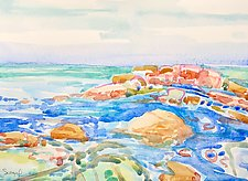 Rocks and Sea by Suzanne Siegel (Watercolor Painting)