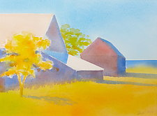 Barns and Yellow Tree by Suzanne Siegel (Watercolor Painting)
