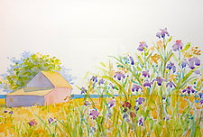 Wild Iris and Barn by Suzanne Siegel (Watercolor Painting)