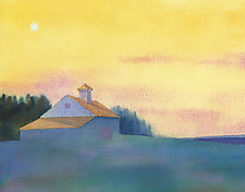 Morning Moon, Cerulean by Suzanne Siegel (Watercolor Painting)