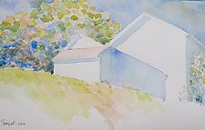 Afternoon Barns I by Suzanne Siegel (Watercolor Painting)
