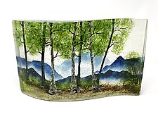 Misty Spring Forest by Amanda Taylor (Art Glass Sculpture)