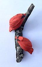 Cardinal Duo by Amy Meya (Ceramic Wall Sculpture)
