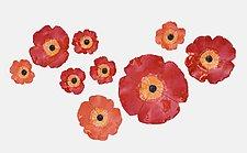 Nine Poppies II by Amy Meya (Ceramic Wall Sculpture)