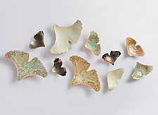 Ginkgoes in Crystal and Gold by Amy Meya (Ceramic Wall Sculpture)