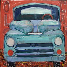 Old Car Teal by Elisa Root (Oil Painting)