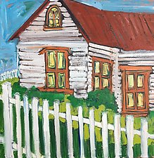 White Fence and Cabin by Elisa Root (Oil Painting)