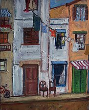 Laundry and Buildings by Elisa Root (Oil Painting)