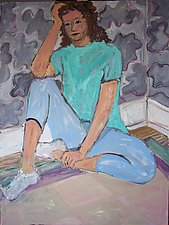 Girl in Green and Blue Seated by Elisa Root (Oil Painting)