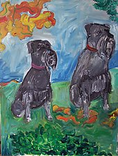Two Miniature Schnauzers by Elisa Root (Oil Painting)