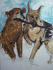 Two Dogs in Snow with Stick by Elisa Root (Oil Painting)