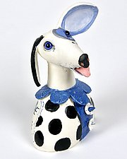 Festive Blue Dog with collar and dots. by Amy Goldstein-Rice (Ceramic Sculpture)