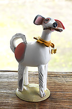 Red-Spotted Dog by Amy Goldstein-Rice (Ceramic Sculpture)