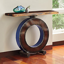 Blue Big O with Wood Top by Ben Gatski and Kate Gatski (Metal Console Table)