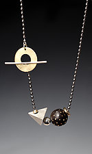 Silver, Brass, Steel & Ebony Beads on Chain by Suzanne Linquist (Metal & Wood Necklace)