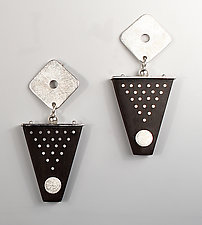 Dot and Shape Earrings by Suzanne Linquist (Silver & Wood Earrings)