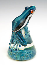 Dark Teal Racer Stripe Frog by Eric Bailey (Art Glass Paperweight)