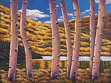 Lake Among the Aspen by Johnathan  Harris (Acrylic Painting)
