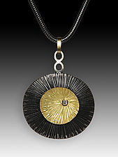 Double Texture Pendant with Diamond by Susan Mahlstedt (Gold, Silver & Stone Necklace)