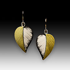 Large Leaf Earrings by Susan Mahlstedt (Gold & Silver Earrings)