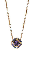 Natural Sapphire & Diamond Pendant Necklace by Diana Widman (Gold & Stone Necklace)