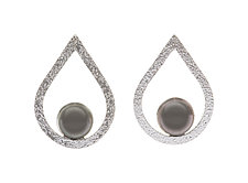 Tahitian Pearl Pear Earrings by Diana Widman (Silver & Stone Earrings)