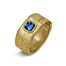 Sapphire Folded Gold Band by Diana Widman (Gold & Stone Ring)