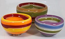 Striped Bubble Bowls by Cristy Aloysi and Scott Graham (Art Glass Bowl)