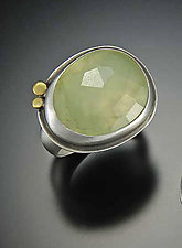 Rose Cut Prehnite Ring by Ananda Khalsa (Silver & Stone Ring)