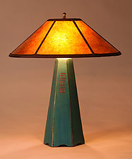 Hopewell Lamp in Viridian Glaze with Amber Mica Shade by Jim Webb (Ceramic Table Lamp)