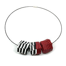 Red, Black, and White Three-Bead Necklace by Francesca Vitali (Paper & Steel Necklace)
