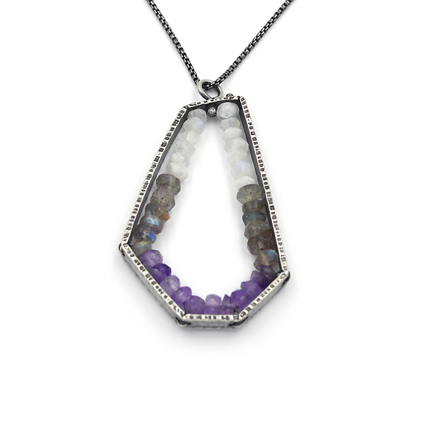 Large Hexagon Geode Pendant Necklace