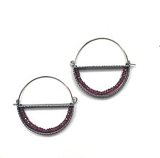 Circle Geode Hoop Earrings by Erica Stankwytch Bailey (Silver & Stone Earrings)