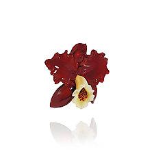 Scarlet Cattleya by Margaret Neher (Art Glass Ornament)