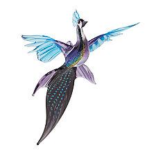 Twilight Peacock by WGK Glass (Art Glass Ornament)
