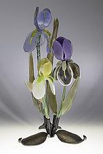Triple Pastel Iris by Loy Allen (Art Glass Sculpture)