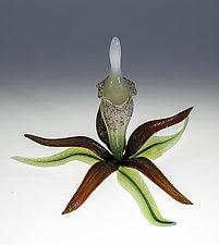 Orange Orchid Bottle by Loy Allen (Art Glass Perfume Bottle)