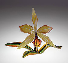 Gold Orchid by Loy Allen (Art Glass Sculpture)
