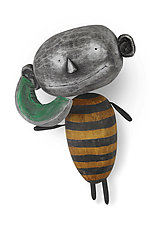 MoonBee with Delicious Slice of Moon by Bruce Chapin (Wood Wall Sculpture)
