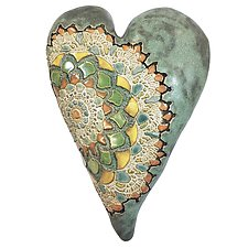 Amory in Old Copper by Laurie Pollpeter Eskenazi (Ceramic Wall Sculpture)